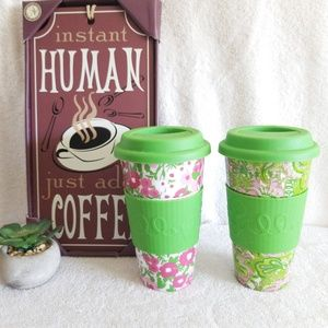 2 Lilly Pulitzer Ceramic Tumblers Travel Mugs Cups